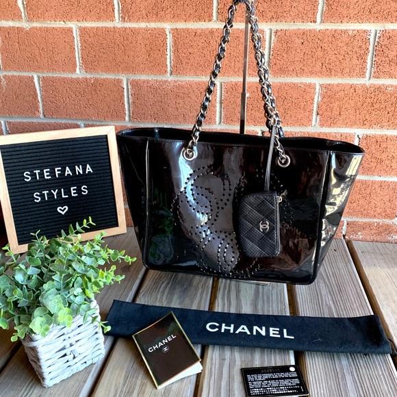 CHANEL Handbags - CHANEL Patent Leather Triple CC Logo Chain Tote